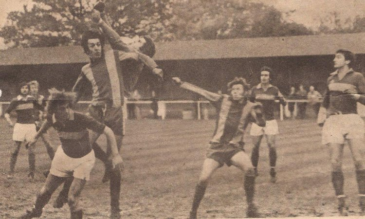 Action from an FA Trophy tie between Horsham and Woking at Queen Street in 1976